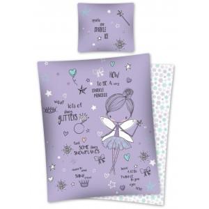 Nádherné bavlnené posteľné obliečky fialovej farby s motívom víly