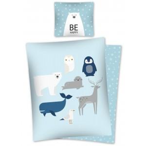 Detské modré bavlnené posteľné obliečky so zvieratkami a motívom zimy