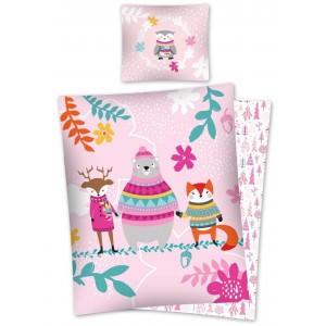 Obojstranná ružová posteľná obliečka z bavlny s vianočným motívom