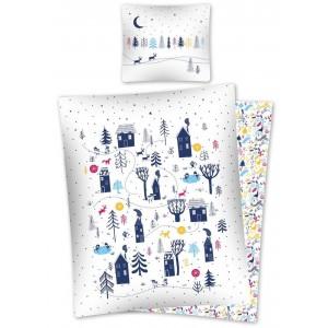Biele bavlnené obojstranné posteľné obliečky so zasneženou krajinou