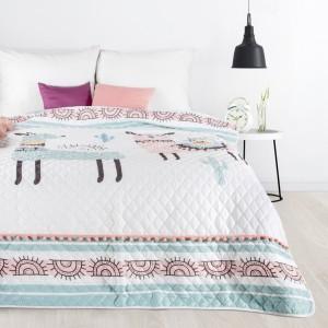 Detský prešívaný prehoz na posteľ bielej farby