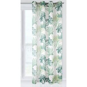 Zelený dekoračný záves s motívom palmových listov