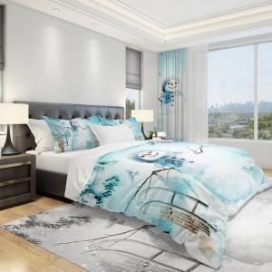 Vianočné posteľné prádlo svetlo modrej farby