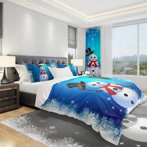 Posteľné obliečky s motívom Vianoc modrej farby