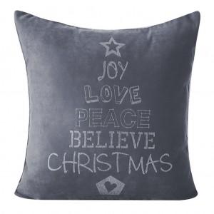 Ozdobná vianočná obliečka na vankúš sivej farby