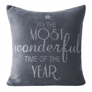 Sivá vianočná obliečka na vankúš so strieborným nápisom