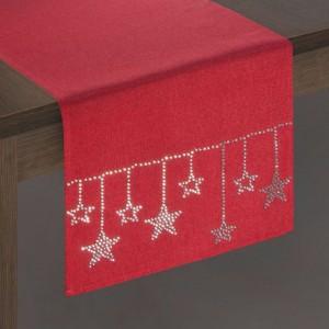 Krásny vianočný behúň na stôl v červenej farbe