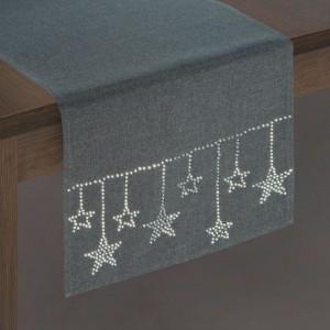 Sivá vianočná štóla na stôl s ozdobnými kamienkami