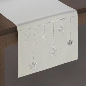 Vianočná béžová štóla na stôl s ozdobnými kamienkami