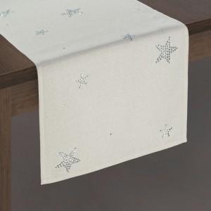 Krásny vianočný béžový obrus na stôl s kamienkami