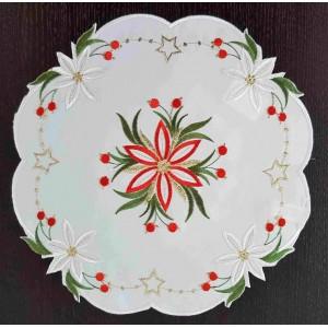 Nadčasové okrúhle vianočné prestieranie s motívom kvetu