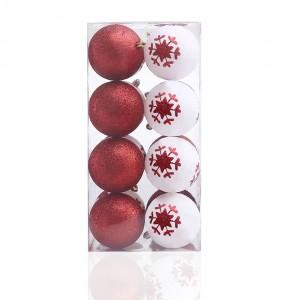 Červeno biely set plastových vianočných gúľ 16 ks