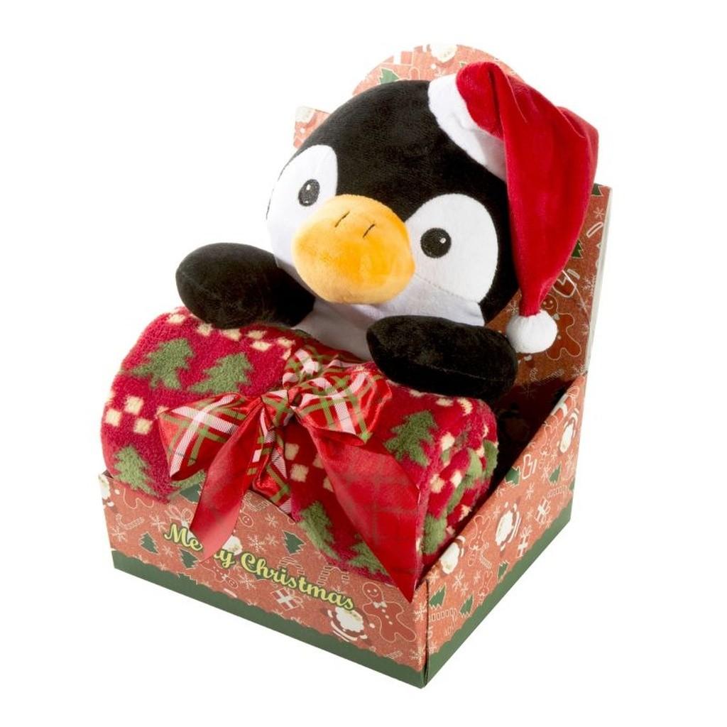 DomTextilu Krásna detská vianočná deka s plyšovou hračkou Šírka: 75 cm   Dĺžka: 100 cm 15519-105080
