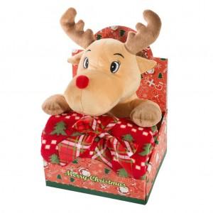 Vianočné darčekové balenie pre dieťatko deka a plyšová hračka