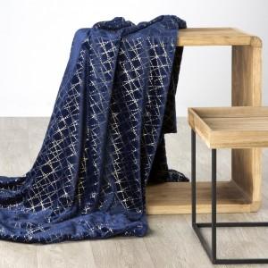 Luxusná deka tmovo modrá s dekoratívnym zlatým ornamentom