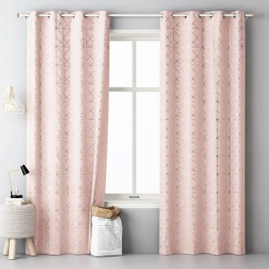 Moderný dekoračný záves ružovej farby so zlatým vzorom