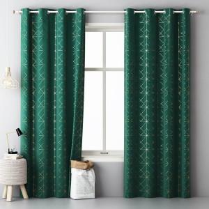 Luxusný tmavo zelený dekoračný záves so zlatým vzorom