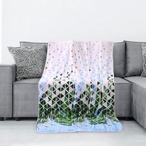 Biela deka s motívom zelených listov