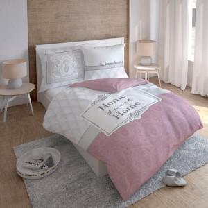 Moderné bielo ružové obliečky s nápisom HOME