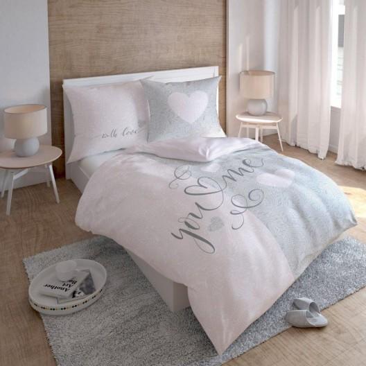 Elegantné ružovo sivé posteľné prádlo z bavlny