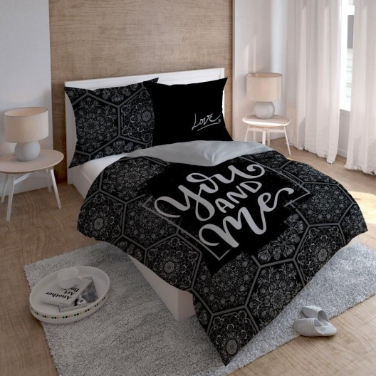 Čierno sivé posteľné obliečky You and Me