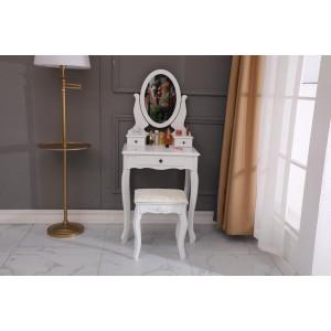 Retro toaletný stolík so zrkadlom a stoličkou