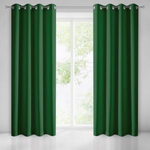 Tmavo zelené dekoračné závesy na okno s funkciou Black out
