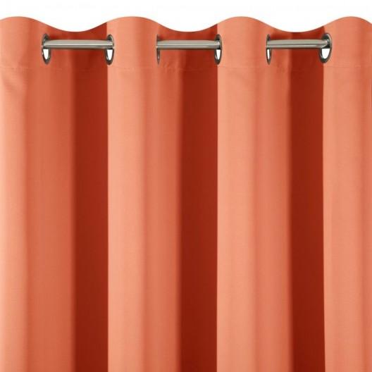 Dekoračné tieniace závesy na kruhy oranžovej farby