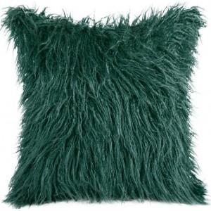 Dekoračná chlpatá obliečka tmavo zelenej farby