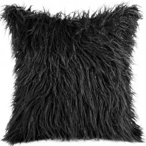 Čierna chlpatá obliečka na vankúše 45x45 cm