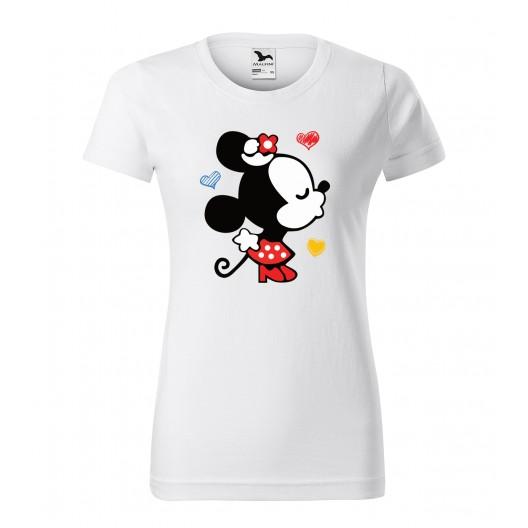 Biele dámske tričko na valentína s potlačou mickey