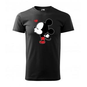 Čierne pánske valentínske tričko s potlačou mickey