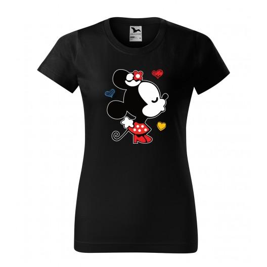 Dámske valentínske tričko čiernej farby