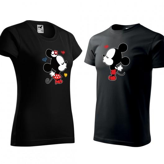 Set valentínskych tričiek čiernej farby mickey a minnie