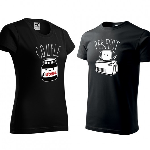Čierne valentínske trička pre zamilované páry