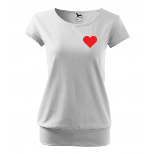 Valentínske tričko s voľným strihom bielej farby
