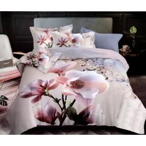 Kvalitné posteľné obliečky v béžovej farbe s veľkým kvetom