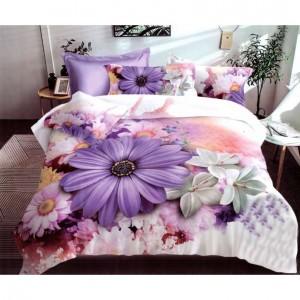 Posteľné obliečky z mikrovlákna s motívom fialového kvetu