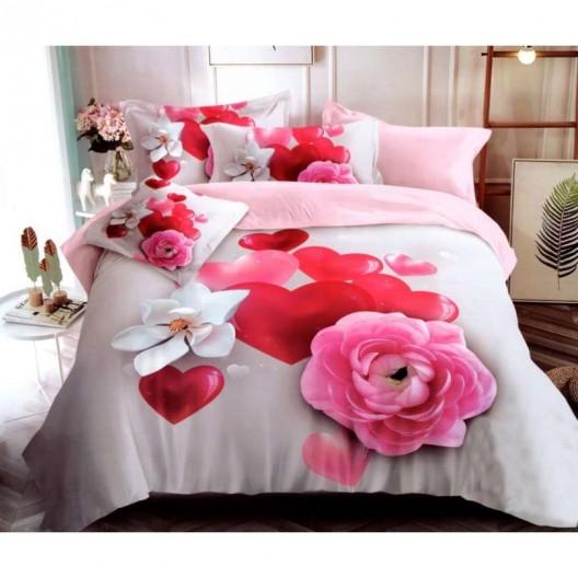 Posteľné obliečky na Valentína so srdiečkami a kvetmi