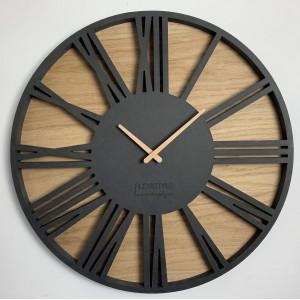 Luxusné drevené hodiny s priemerom 50cm ROMAN LOFT