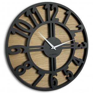 Kvalitné hodiny z dreva okrúhleho tvaru ARABIC LOFT