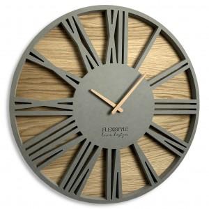 Sivé hodiny na stenu z kvalitného dreva