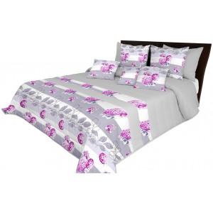 Sivý prešívaný prehoz na posteľ s motívom kvetov