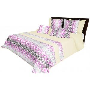Kremový prehoz na posteľ s ružovým geometrickým motívom