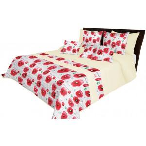 Prehoz na manželskú posteľ s motívom červených kvetov