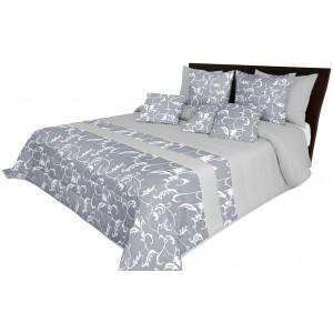 Jednoduchý prehoz na posteľ sivej farby s elegantným motívom