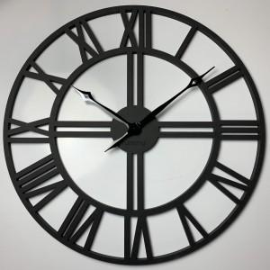 Čierne hodiny na stenu zdreva LOFT GRANDE 80cm