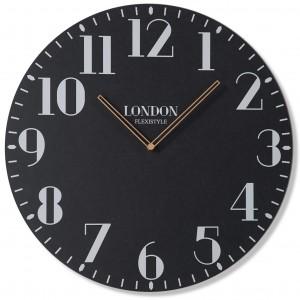 Retro nástenne hodiny v čiernej farbe LONDON RETRO 50cm
