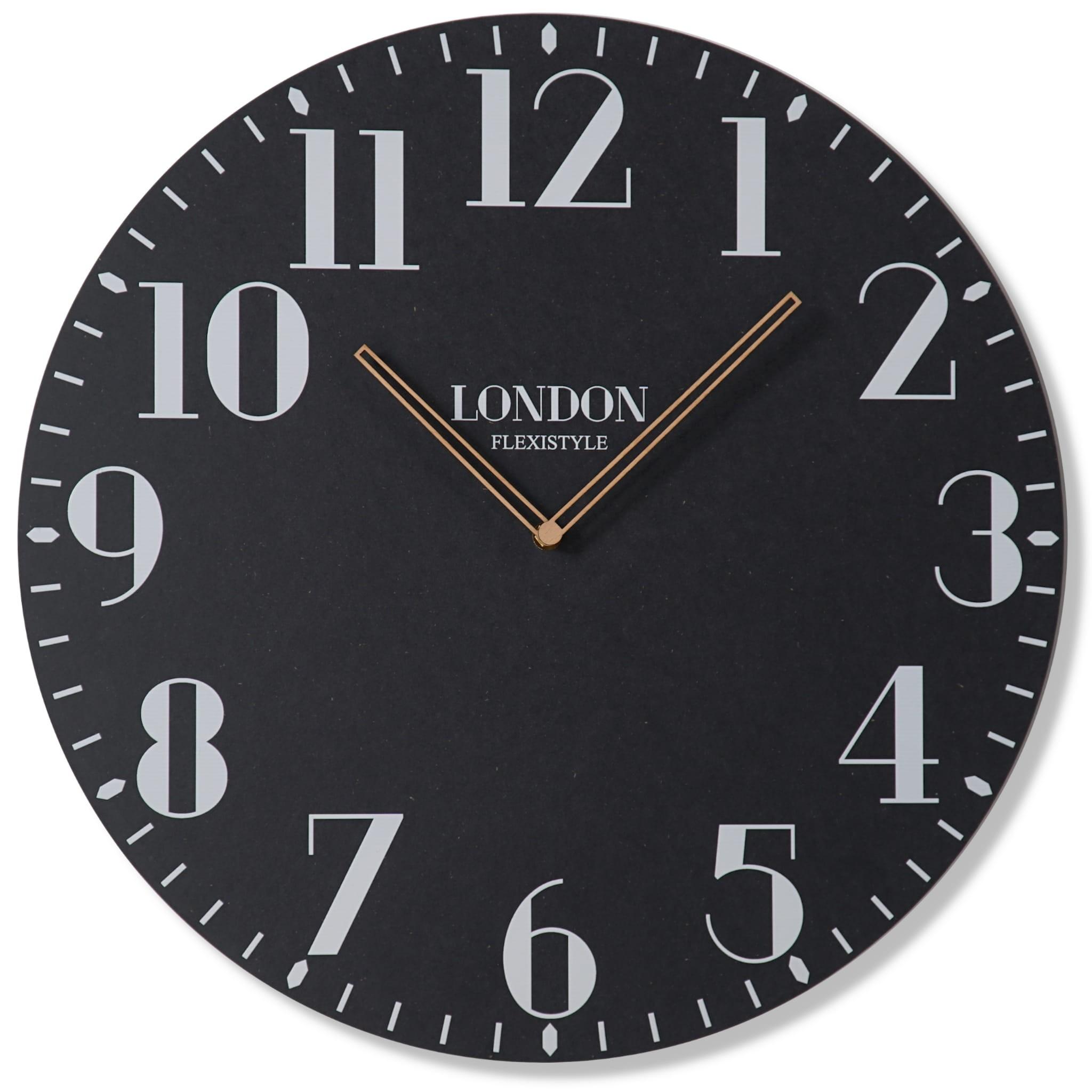 DomTextilu Retro nástenne hodiny v čiernej farbe LONDON RETRO 50cm 16606