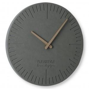 Moderné hodiny z dreva vo svetlo sivej farbe